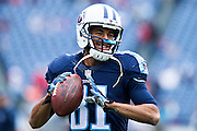 NASHVILLE, TN - OCTOBER 25:  Rico Richardson #81 of the Tennessee Titans warming up before a game against the Atlanta Falcons at Nissan Stadium on October 25, 2015 in Nashville, Tennessee.  The Falcons defeated the Titans 10-7.  (Photo by Wesley Hitt/Getty Images) *** Local Caption *** Rico Richardson