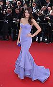 """Jimena Navarez walks the red carpet in Cannes, France for the premiere of Roman Polanski film """"Venus in Fur"""" on May 25th 2013"""
