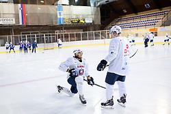 Gal Koren and Anze Kuralt at first practice of Slovenian National Ice Hockey team before EIHC tournament in Innsbruck, on November 4, 2013 in Ledena dvorana Bled, Bled, Slovenia. (Photo by Matic Klansek Velej / Sportida.com)