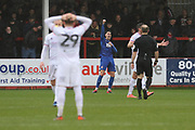 Conor Wilkinson celebrates hs goal   during the EFL Sky Bet League 2 match between Cheltenham Town and Leyton Orient at Jonny Rocks Stadium, Cheltenham, England on 15 February 2020.