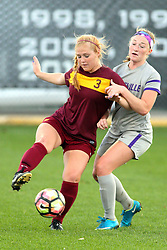 04 November 2016:  Taylor Lambouris(3) during an NCAA Missouri Valley Conference (MVC) Championship series women's semi-final soccer game between the Loyola Ramblers and the Evansville Purple Aces on Adelaide Street Field in Normal IL