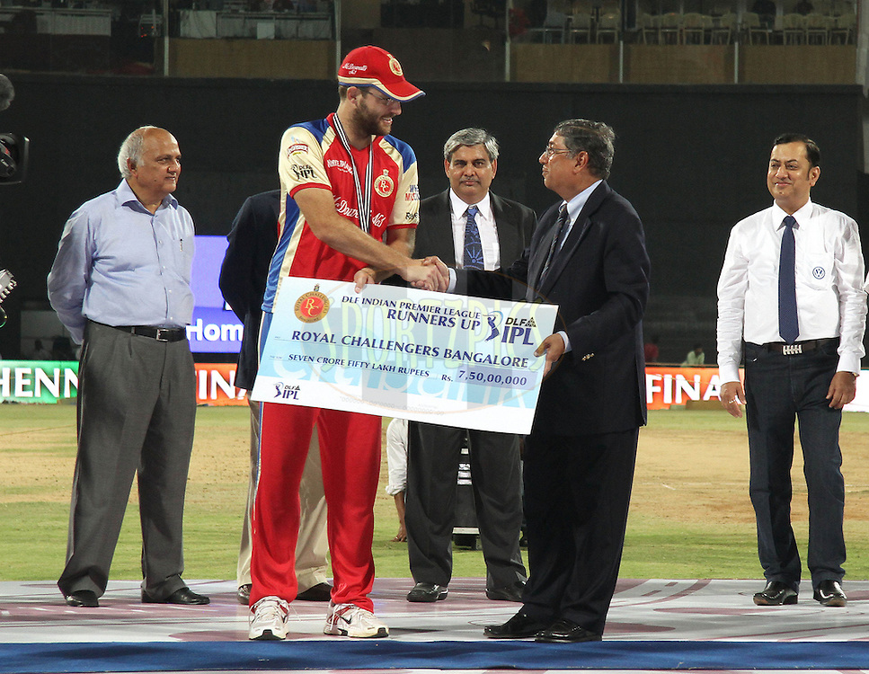 Captain Daniel Vettori of the Royal Challengers Bangalore receives the runners up cheque from Mr N Srinivasan (Hon Secretary, BCCI & IPL Governing Council Member) during the final of the Indian Premier League ( IPL ) Season 4 between the Chennai Superkings and the Royal Challengers Bangalore held at the MA Chidambaram Stadium in Chennai, Tamil Nadu, India on the 28th April 2011..Photo by Shaun Roy/BCCI/SPORTZPICS