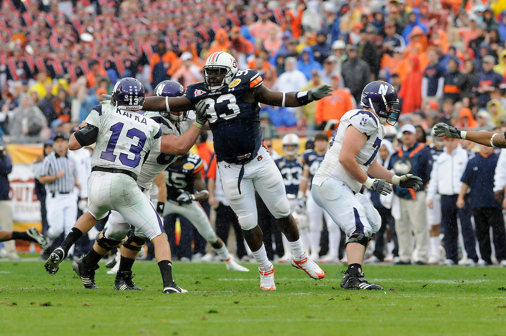 January 1, 2010: Mike Blanc of the Auburn Tigers in action during the NCAA football game between the Northwestern Wildcats and the Auburn Tigers in the Outback Bowl. The Tigers defeated the Wildcats 38-35 in overtime.