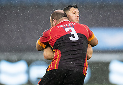 Shaun Venter of Ospreys is tackled by Pieter Scholtz of Southern Kings<br /> <br /> Photographer Simon King/Replay Images<br /> <br /> Guinness PRO14 Round 6 - Ospreys v Southern Kings - Saturday 9th November 2019 - Liberty Stadium - Swansea<br /> <br /> World Copyright © Replay Images . All rights reserved. info@replayimages.co.uk - http://replayimages.co.uk