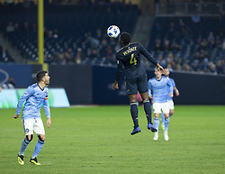 October 31, 2018 - New York, New York, United States - Mark McKenzie (4) of Philadelphia Union controls air ball during knockout round game at Yankees stadium NYCFC won 3 - 1  (Credit Image: © Lev Radin/Pacific Press via ZUMA Wire)
