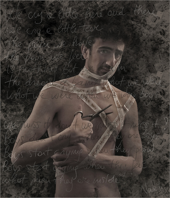 A naked young man bound with tape
