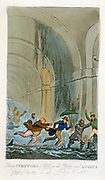 Tom, Jerry and Logic having a narrow escape as water breaks through during a visit to the Thames Tunnel workings. Illustration by Robert Cruikshank for 'The Finish to the Adventures of Tom, Jerry and Logic', London, 1828. On 12 January 1828 6 men were dro