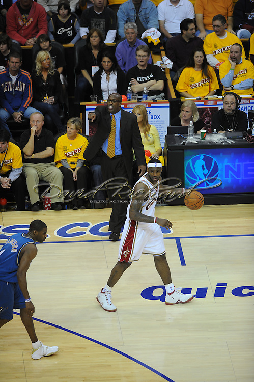 The Washington Wizards defeated the Cleveland Cavaliers 88-87 in Game 5 of the First Round of the NBA Playoffs, April 30, 2008 at Quicken Loans Arena in Cleveland..LeBron James of Cleveland and head coach Mike Brown.