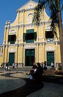 A colorful colonial building in the Largo de Senado, Macau, China.