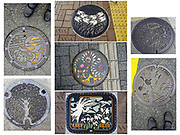 Japanese manhole covers / hatchcovers (center photo by Tom, the other six by Carol Dempsey).