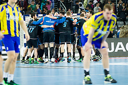 Players of PPD Zagreb celebrate after handball match between PPD Zagreb (CRO) and RK Celje Pivovarna Lasko (SLO) in 13th Round of Group Phase of EHF Champions League 2015/16, on February 27, 2016 in Arena Zagreb, Zagreb, Croatia. Photo by Urban Urbanc / Sportida