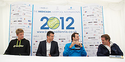 LIVERPOOL, ENGLAND - Thursday, June 21, 2012: Kevin Anderson (RSA), Richard Krajicek (NED), Greg Rusedski (GRB) and Tournament Director Anders Borg during a press conference on the opening day of the Medicash Liverpool International Tennis Tournament at Calderstones Park. (Pic by David Rawcliffe/Propaganda)