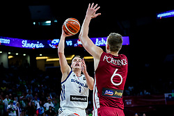 Klemen Prepelic of Slovenia vs Kristaps Porzingis of Latvia during basketball match between National Teams of Slovenia and Latvia at Day 13 in Round of 16 of the FIBA EuroBasket 2017 at Sinan Erdem Dome in Istanbul, Turkey on September 12, 2017. Photo by Vid Ponikvar / Sportida