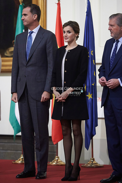 King Felipe VI of Spain, Queen Letizia of Spain attended the Delivery Gold Medals of Merit in Fine Arts 2014 at Bellas Artes Museum on December 2, 2015 in Sevilla, Spain
