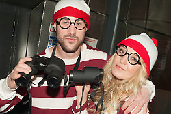 The Hubs, Hallam Union, Paternoster Row plays host to Sheffield's biggest Fancy Dress Ball. More than 900 people in fancy dress to raise money for Cancer Research on Saturday night. Luke O'brien and Rosie Firth as Wally and Wanda..6 April  2013.Image © Paul David Drabble