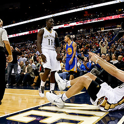 Nov 26, 2013; New Orleans, LA, USA; New Orleans Pelicans power forward Ryan Anderson (33) reacts to a foul against Golden State Warriors point guard Stephen Curry (30) during the second half of a game at New Orleans Arena. The Warriors defeated the Pelicans 102-101. Mandatory Credit: Derick E. Hingle-USA TODAY Sports
