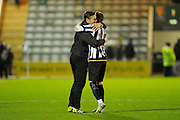 Notts County manager Kevin Nolan hugs Robert Milsom (12) of Notts County at full time to celebrates the 1-0 win over Plymouth during the EFL Sky Bet League 2 match between Plymouth Argyle and Notts County at Home Park, Plymouth, England on 28 February 2017. Photo by Graham Hunt.