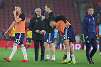 Football - 2018 / 2019 Premier League - Southampton vs. Fulham<br /> <br /> Fulham Head Coach Claudio Ranieri gives some pre match instructions to Kevin McDonald of Fulham during the pre match warm up before kick off at St Mary's Stadium Southampton <br /> <br /> COLORSPORT/SHAUN BOGGUST