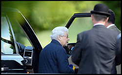 HM Queen gets into her range rover after watching her horse Tower Bridge at the Royal Windsor Horse Show. Windsor, United Kingdom. Wednesday, 14th May 2014. Picture by Andrew Parsons / i-Images
