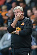 Steve Bruce during the Sky Bet Championship match between Hull City and Queens Park Rangers at the KC Stadium, Kingston upon Hull, England on 19 September 2015. Photo by Ian Lyall.