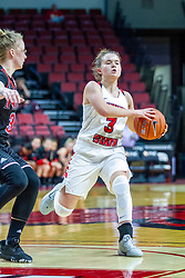 NORMAL, IL - November 20: Mary Crompton defended by Gabby Nikitinaite during a college women's basketball game between the ISU Redbirds and the Huskies of Northern Illinois November 20 2019 at Redbird Arena in Normal, IL. (Photo by Alan Look)