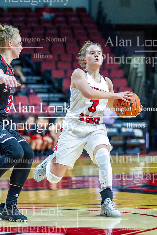 NORMAL, IL - November 20: Mary Compton defended by Gabby Nikitinaite during a college women's basketball game between the ISU Redbirds and the Huskies of Northern Illinois November 20 2019 at Redbird Arena in Normal, IL. (Photo by Alan Look)