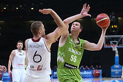 Rolands Freimanis of Latvia vs Uros Slokar of Slovenia during basketball match between Latvia and Slovenia at Day 8 in Round of 16 of FIBA Europe Eurobasket 2015, on September 12, 2015, in LOSC Lile stadium, Croatia. Photo by Marko Metlas / MN PRESS PHOTO / SPORTIDA