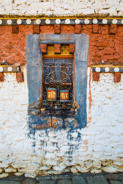 A coloured temple wall in a Bhutan.