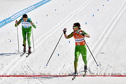LADZESAU Mikita BLR B2 Guide: LUKYANAU Aliaksei competing in the ParaSkiDeFond, Para Nordic Skiing, Sprint at  the PyeongChang2018 Winter Paralympic Games, South Korea.