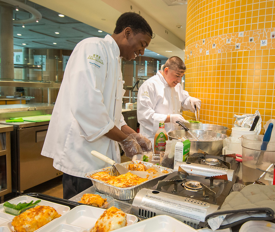 Students from Harper Alternative High School participate in  the Cooking for Change challenge at Rice University, April 12, 2014.