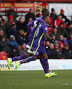 Charlton Athletic midfielder, Callum Harriott (11) celebrating scoring opening goal 0-1 during the Sky Bet Championship match between Brentford and Charlton Athletic at Griffin Park, London, England on 5 March 2016. Photo by Matthew Redman.