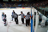 KELOWNA, CANADA - MARCH 7: Rodney Southam #17 of the Kelowna Rockets stands on the ice in front of the penalty box against the Victoria Royals on March 7, 2017 at Prospera Place in Kelowna, British Columbia, Canada.  (Photo by Marissa Baecker/Shoot the Breeze)  *** Local Caption ***
