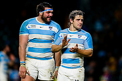Argentina Fly-Half Nicolas Sanchez looks upset as he thanks the supporters after Australia win the match 15-29 - Mandatory byline: Rogan Thomson/JMP - 07966 386802 - 25/10/2015 - RUGBY UNION - Twickenham Stadium - London, England - Argentina v Australia - Rugby World Cup 2015 Semi Finals.