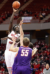 15 January 2016: Quintin Brewer (2) hooks a shot towards the basket during the Illinois State Redbirds v Evansville Purple Aces at Redbird Arena in Normal Illinois (Photo by Alan Look)