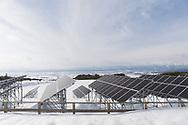 Solpanelerna i Aizu Powers anl&auml;ggning, Oguni Power Plant, &auml;r uppsatta p&aring; h&ouml;ga st&auml;llningar eftersom omr&aring;det ofta f&aring;r stora m&auml;ngder sn&ouml;. <br /> <br /> <br /> The Oguni solar power plant in Kitakata, Fukushima, Japan<br /> <br /> Photographer: Christina Sj&ouml;gren<br /> <br /> Copyright 2018, All Rights Reserved<br /> <br /> <br /> The solar panels are put up on high scaffolding because this area is getting large amounts of snow in the winter time.