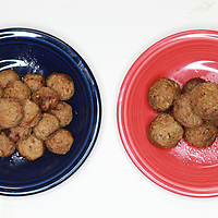 Meatballs, left, meatless meastballs, right,