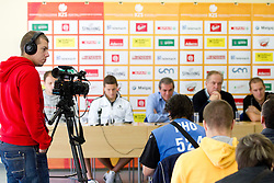 Rok Orazem of Sport TV at press conference after last game of Slovenian basketball team during FIBA Europe Eurobasket Lithuania 2011, on September 18, 2011, in Kaunas, Lithuania. (Photo by Vid Ponikvar / Sportida)