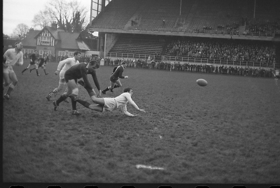 International Rugby Trials, Lansdowne Road..1968..13.01.1968..01.13.1968..13th January 1968..At Lansdowne Road in Dublin trials were carried out between the probables and the possibles for places on the international rugby team in the upcoming international games...Image shows some of the on field action at the international trial at Lansdowne Road.
