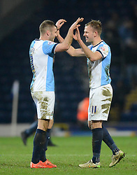 Blackburn Rovers's Jordan Rhodes celebrates with team-mate Tommy Spurr at the end of the match - Photo mandatory by-line: Richard Martin-Roberts/JMP - Mobile: 07966 386802 - 11/03/2015 - SPORT - Football - Blackburn - Ewood Park - Blackburn Rovers v Bolton Wanderers - Sky Bet Championship