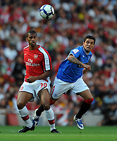 Nacho Novo<br /> Rangers 2009/10<br /> Armand Traore Arsenal<br /> Arsenal V Rangers (3-0) 02/08/09 at the Emirates Stadium<br /> The Emirates Cup 2009<br /> Photo Robin Parker Fotosports International