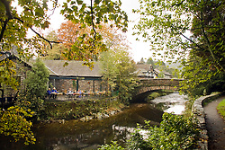 Grasmere, Cumbia, Lakeland:  Riverside view, with restaurant.