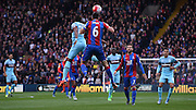 Scott Dann heads clear from the back during the Barclays Premier League match between Crystal Palace and West Ham United at Selhurst Park, London, England on 17 October 2015. Photo by Michael Hulf.