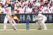 Alastair Cook plays a cut shot during the Magellan fourth test match between Australia v England at  the Melbourne Cricket Ground, Melbourne, Australia on 26 December 2017. Photo by Mark  Witte.