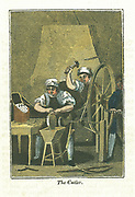 The Cutler. Knife blades are shaped at forge in background and sharpened on grindstone turned by wheel operated by boy on right. Handles would be attached and finished knives would be presented in fitted wooden box on table at left.  Hand-coloured woodcut