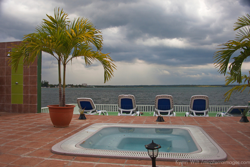 Central America, Cuba, Cienfuegos. Perla del Mar boutique hotel hot tub.