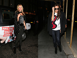 Victoria Beckham wearing a pair of Alaïa Leopard calf hair-paneled suede ankle boots as was Kate Moss at the Rimmel London 180th anniversary party at held at the London Film Museum in London, UK. 10/10/2013 <br /> <br /> BYLINE MUST READ : JAMESY/GOTCHA IMAGES<br /> <br /> Copyright by © Gotcha Images Ltd. All rights reserved.<br /> Usage of this image is conditional upon the acceptance <br /> of Gotcha Images Ltd, terms and conditions available at<br /> www.gotchaimages.com