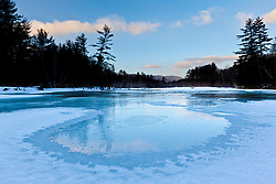 The frozen Saco River in New Hampshire's White Mountains.