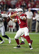 Arizona Cardinals quarterback Carson Palmer (3) throws a pass during the 2016 NFL preseason football game against the Oakland Raiders on Friday, Aug. 12, 2016 in Glendale, Ariz. The Raiders won the game 31-10. (©Paul Anthony Spinelli)