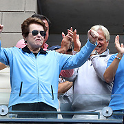 2016 U.S. Open - Day 6  Billie Jean King salutes the crowd during the Andy Murray of Great Britain versus Paolo Lorenzi of Italy Men's Singles round three match on Arthur Ashe Stadium on day six of the 2016 US Open Tennis Tournament at the USTA Billie Jean King National Tennis Center on September 3, 2016 in Flushing, Queens, New York City.  (Photo by Tim Clayton/Corbis via Getty Images)