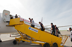 CARDIFF, WALES - Wednesday, September 1, 2010: Wales players board the plane at Cardiff Airport as the squad head out to Podgorica ahead of the opening UEFA Euro 2012 Qualifying Group 4 match against Montenegro. (Pic by David Rawcliffe/Propaganda)